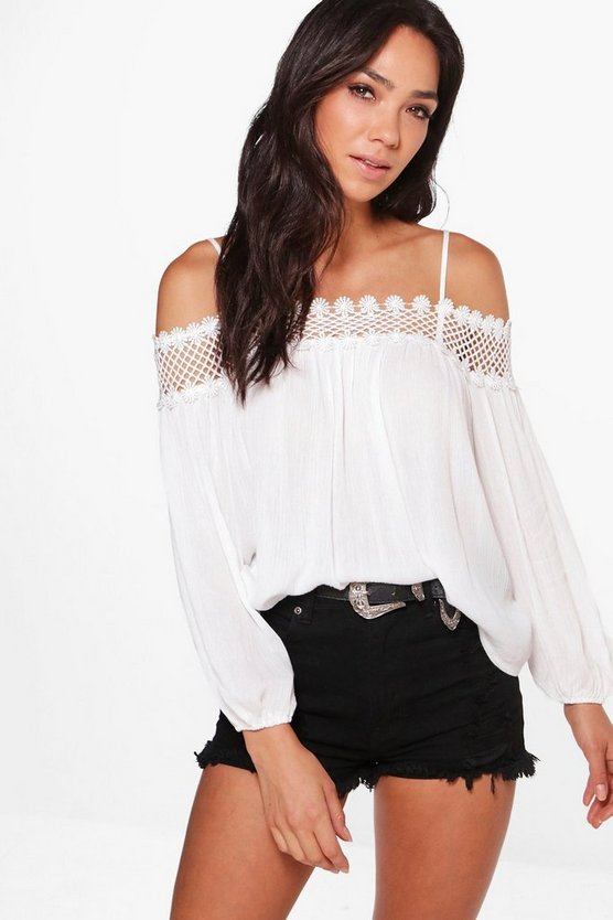 Crochet Trim Cold Shoulder