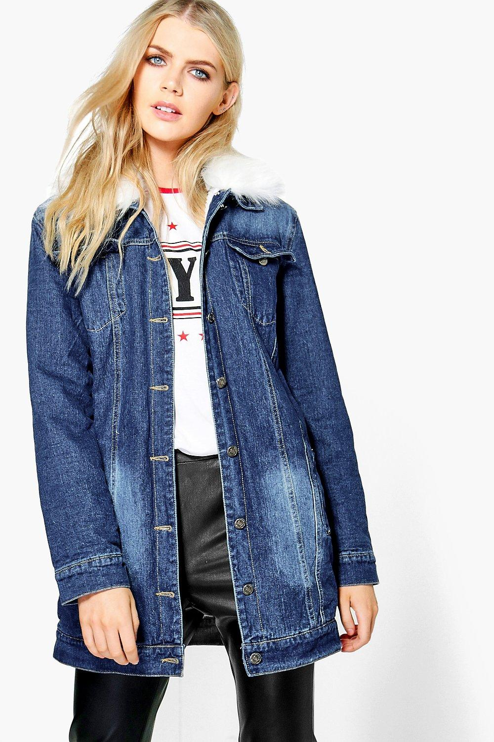 afa4682042f9 Womens Mid blue Roxie Lined Faux Fur Collar Denim Jacket. Hover to zoom