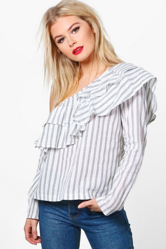 Violet Striped Ruffle Long Sleeve Top