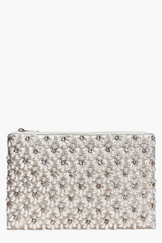 Boutique Scalloped Bridal Beaded Clutch