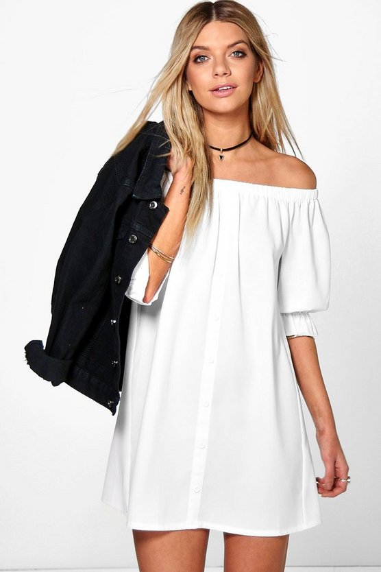 White Off The Shoulder Button Shift Dress