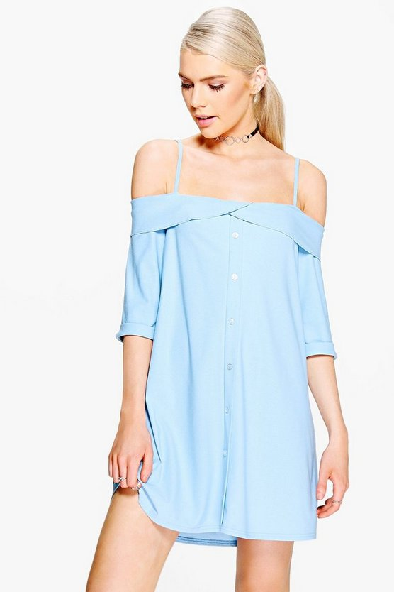 Ivy Frill Cold Shoulder Button Down Shift Dress