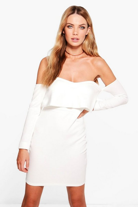 Neve Frill Bardot Long Sleeved Bodycon Dress