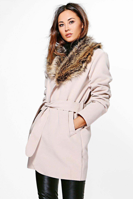 72d74ebfe5252 Abigail Faux Fur Collar Wrap Coat. Hover to zoom