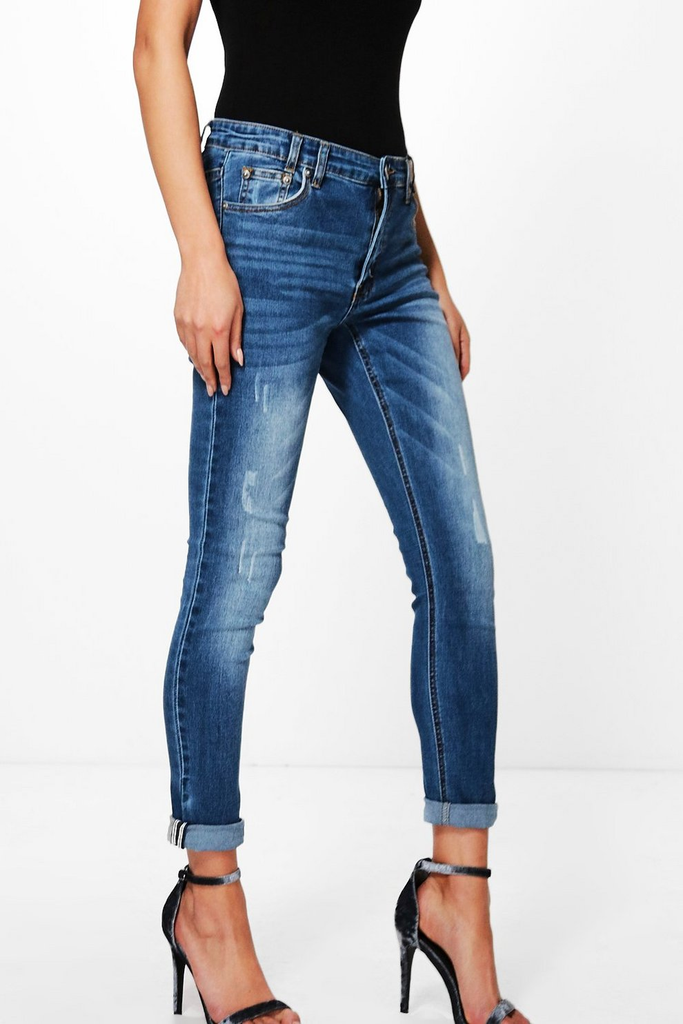 497d73e92801 Allie Mid Rise Selvedge Turn Up Skinny Jeans | Boohoo