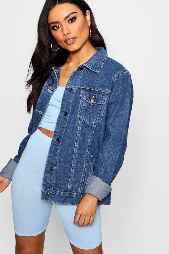 Womens Denim-blue Oversize Denim Jacket