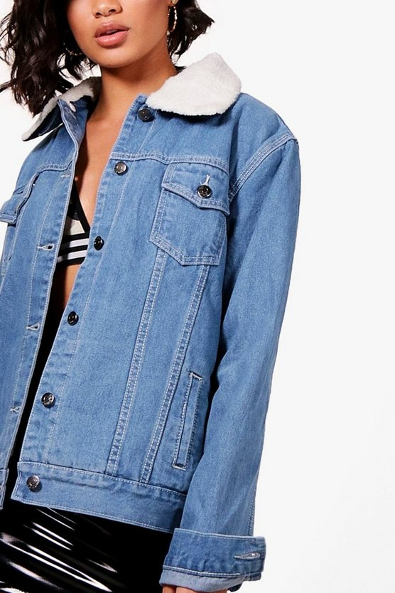 Borg Lined Oversized Denim Jacket