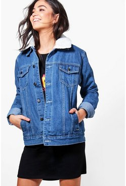 Womens Dark blue Borg Lined Oversize Denim Jacket