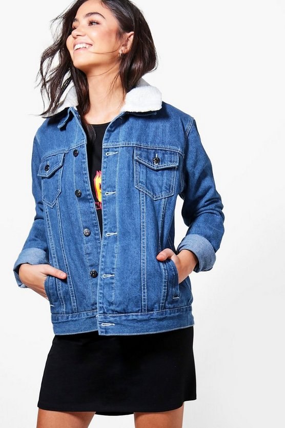 Borg Lined Oversize Denim Jacket