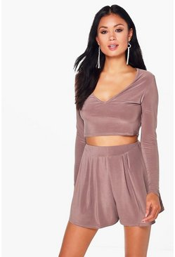 Womens Mocha Sophie Slinky Plunge Crop Shorts Co-Ord