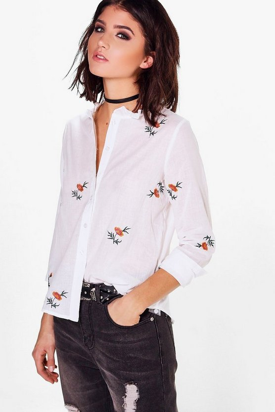 Womens White Embroidered Cotton Shirt