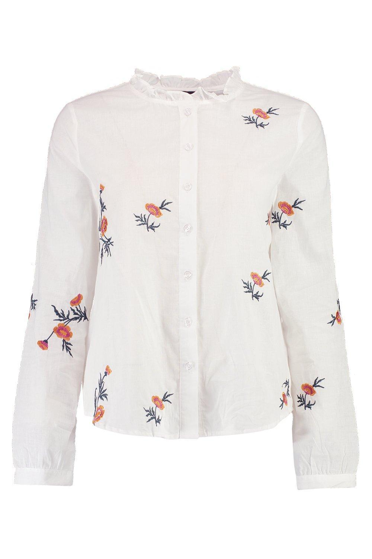 Camisa algodón de Blanco con bordados 1nY86xwn