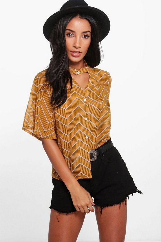 Chevron Print Choker Short Sleeved Shirt