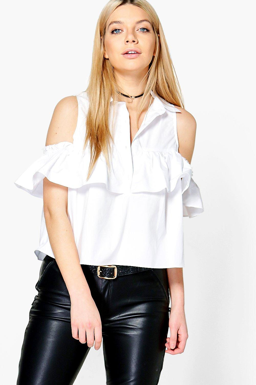 d0ea31640a2824 Womens White Lizzy Cold Shoulder Ruffle Shirt. Hover to zoom