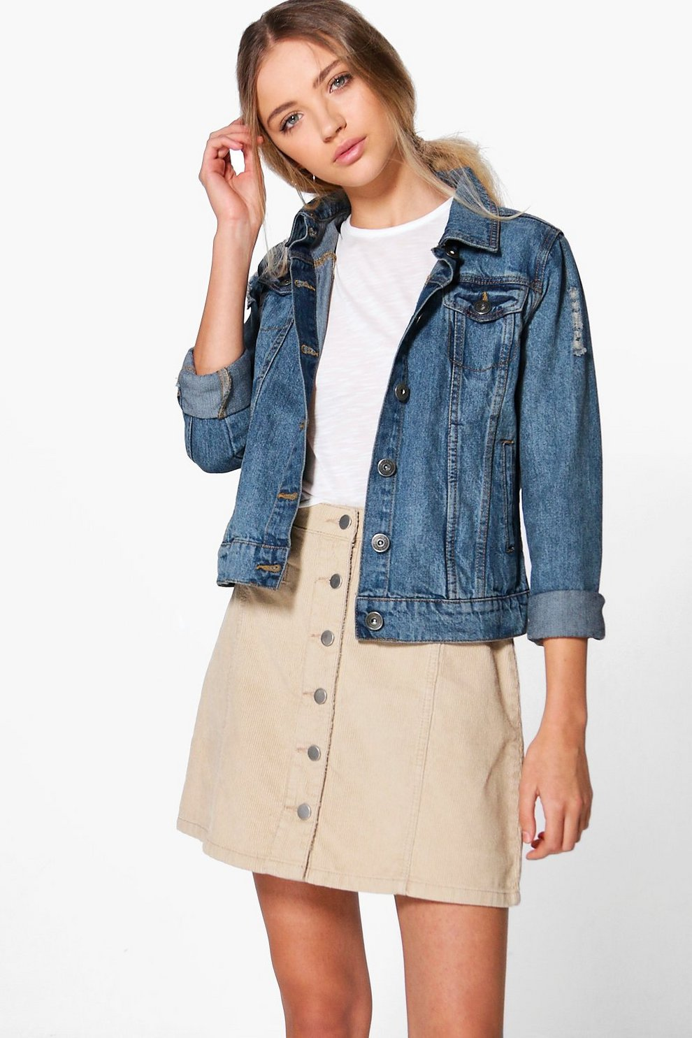 1e37736d4 Martha A-Line Button Through Cord Skirt | Boohoo