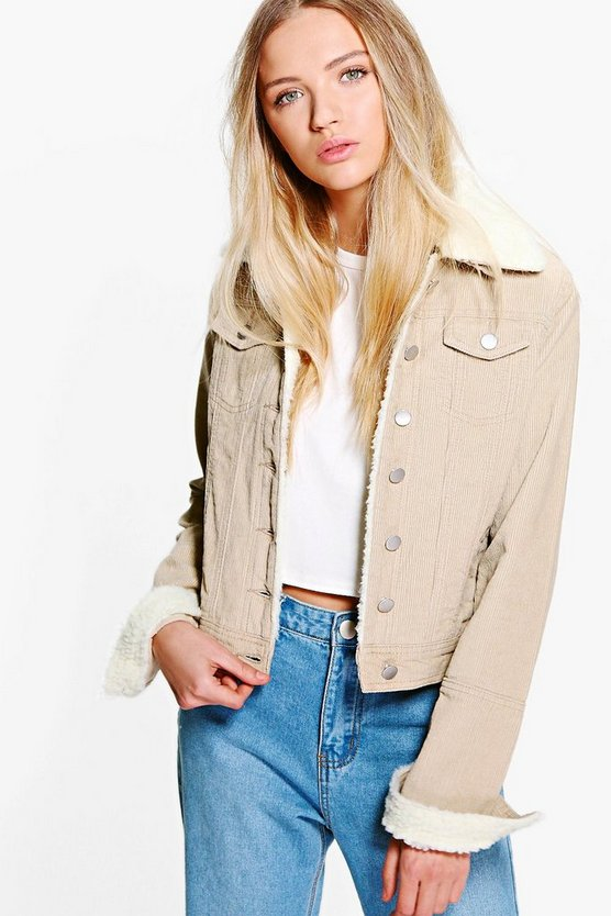 Womens Stone Slim Fit Borg Collar Cord Jacket