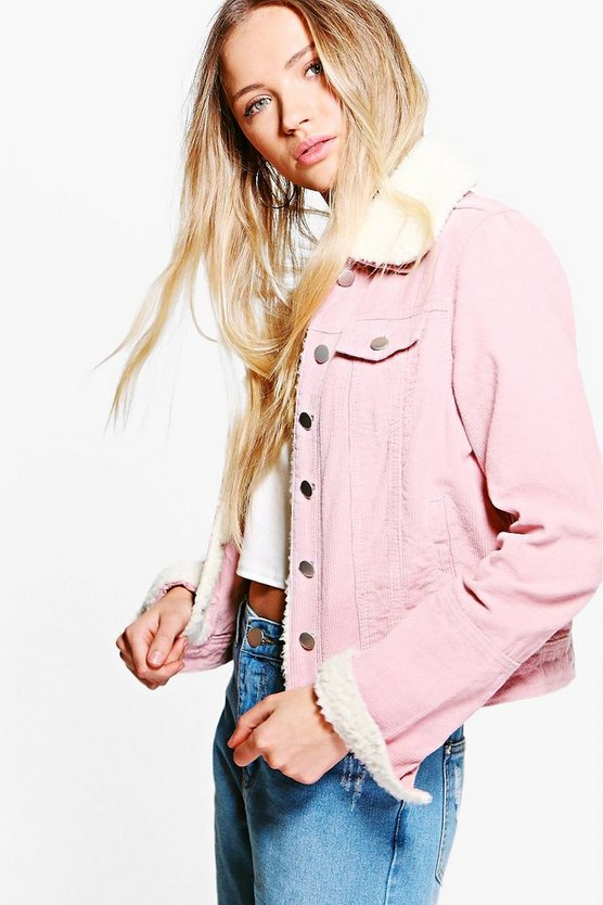 Baby pink Slim Fit Borg Collar Cord Jacket