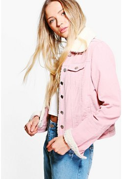 Womens Baby pink Slim Fit Borg Collar Cord Jacket