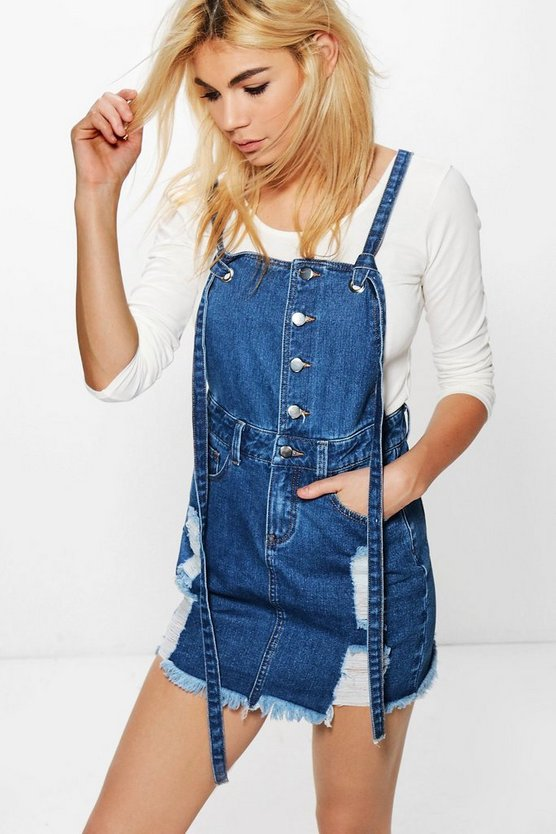 Daisy Button Detail Denim Pinafore Dress