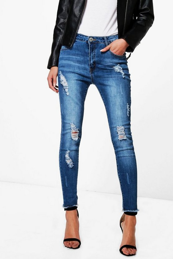 Pamela Mid Rise All Over Distress Skinny Jeans