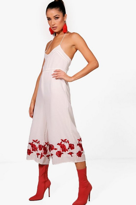 Embroidered Culotte Jumpsuit