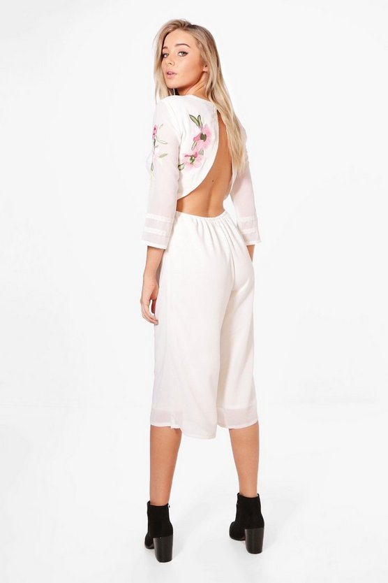 Open Back Embroidered Culotte Jumpsuit