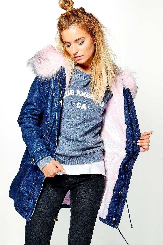 d4664d9e Erin Boutique Denim Faux Fur Parka | Boohoo