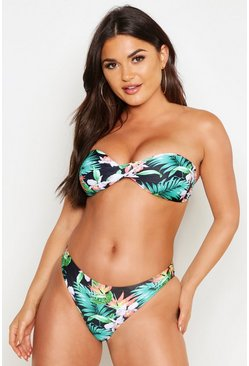 Black Tropical Flower Twist Bandeau Bikini