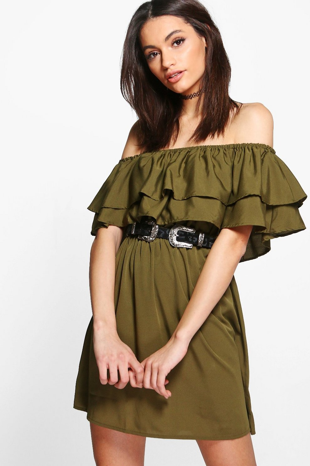 94762eee8f1f Timi Double Frill Off Shoulder Shift Dress
