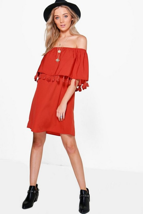 Womens Spice Jess Off Shoulder Pom Pom Shift Dress