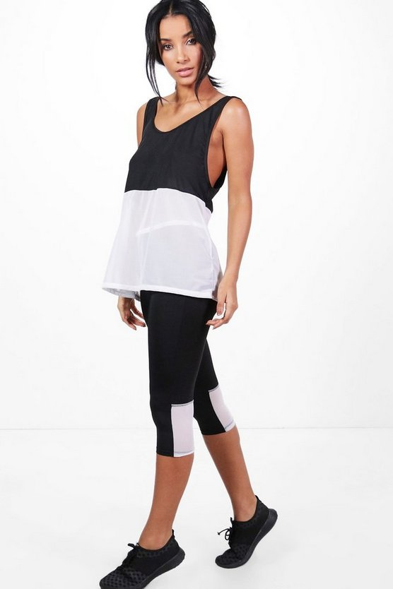 leggings de correr capri de malla de color liso cara fit