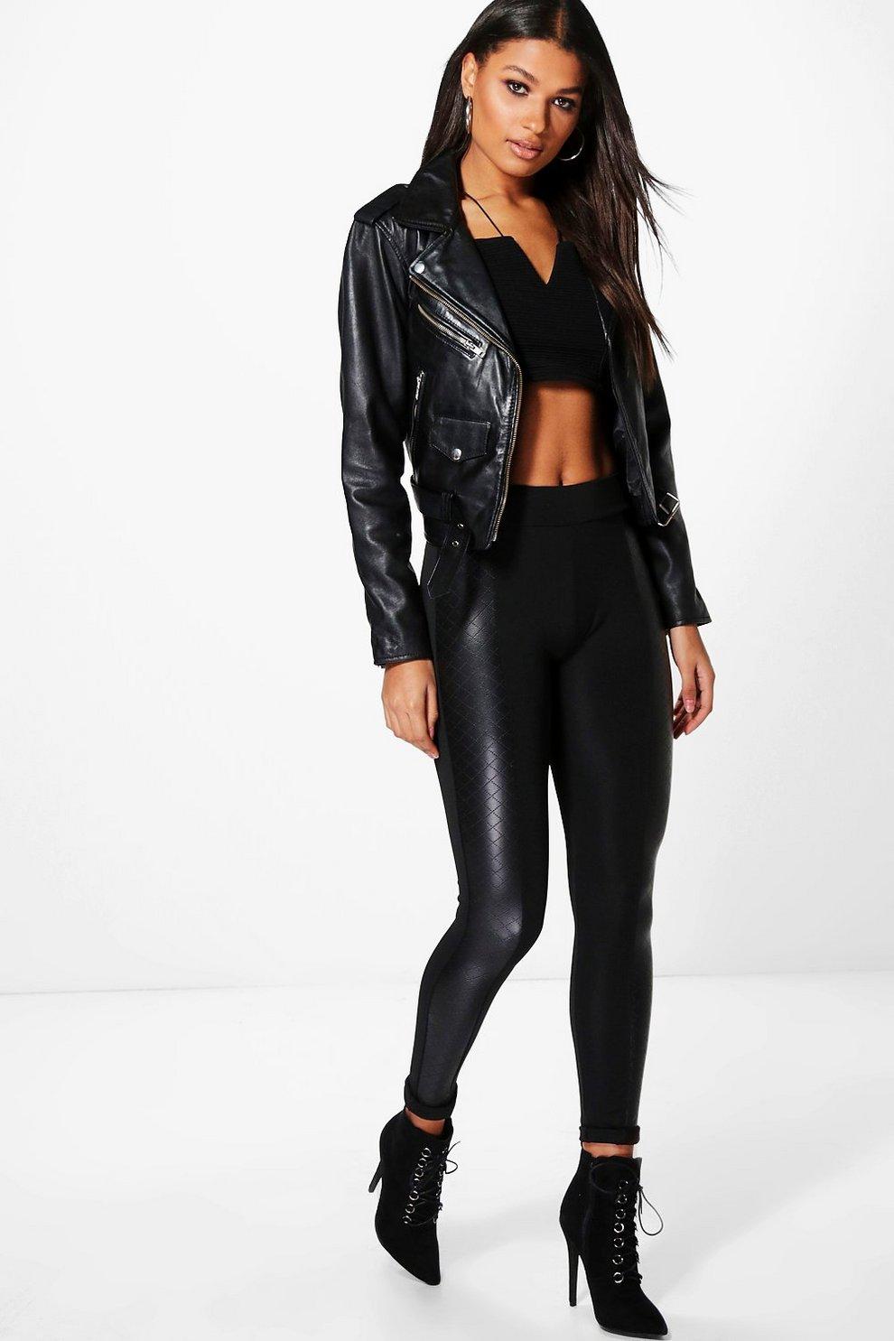 e3242c4bb5da Rose Quilted Leather Look Panel Leggings | Boohoo