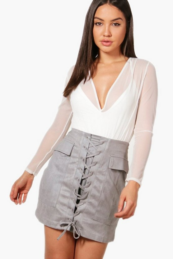 Lace Up Front Pocket Side Suedette Skirt