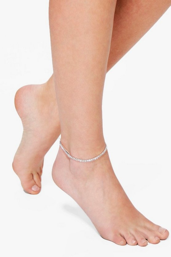 Diamante Glass Stone Dainty Anklet