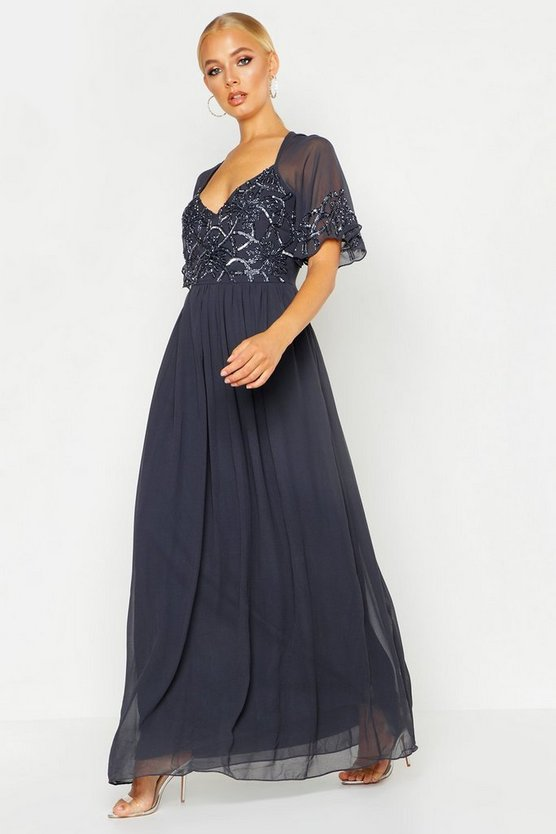 Womens Grey Boutique Embellished Maxi Dress