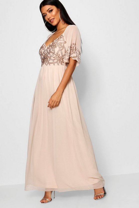 Womens Nude Boutique Embellished Maxi Dress