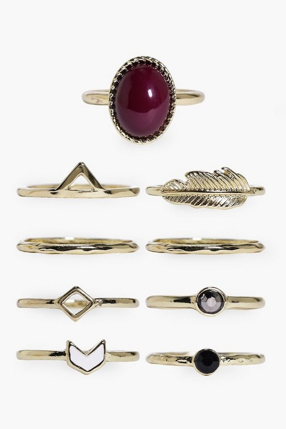 Stone & Geometric Mixed 9 Ring Pack