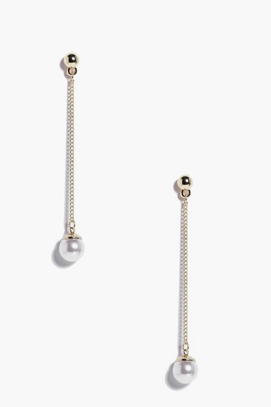 Gold Stud Pearl Drop Earrings