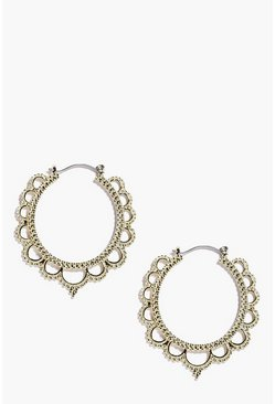 Womens Gold Eastern Hoop Earrings