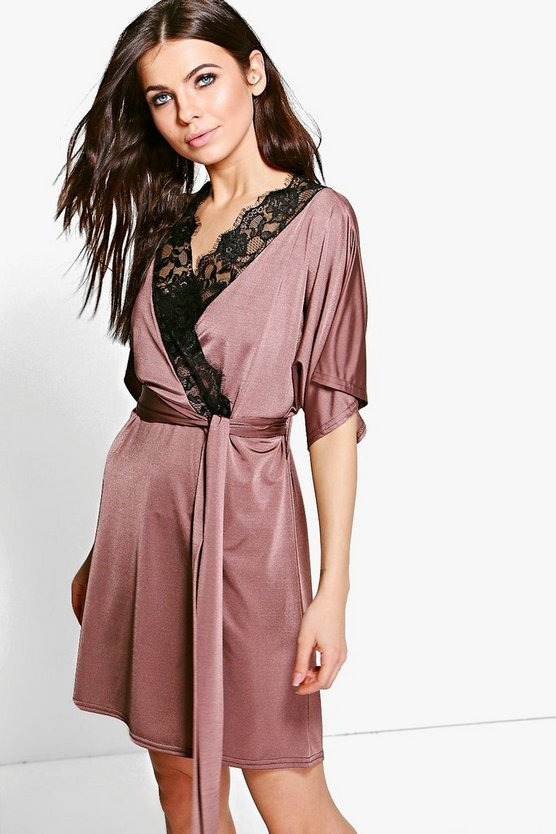 Lace Trim Short Sleeved Wrap Dress