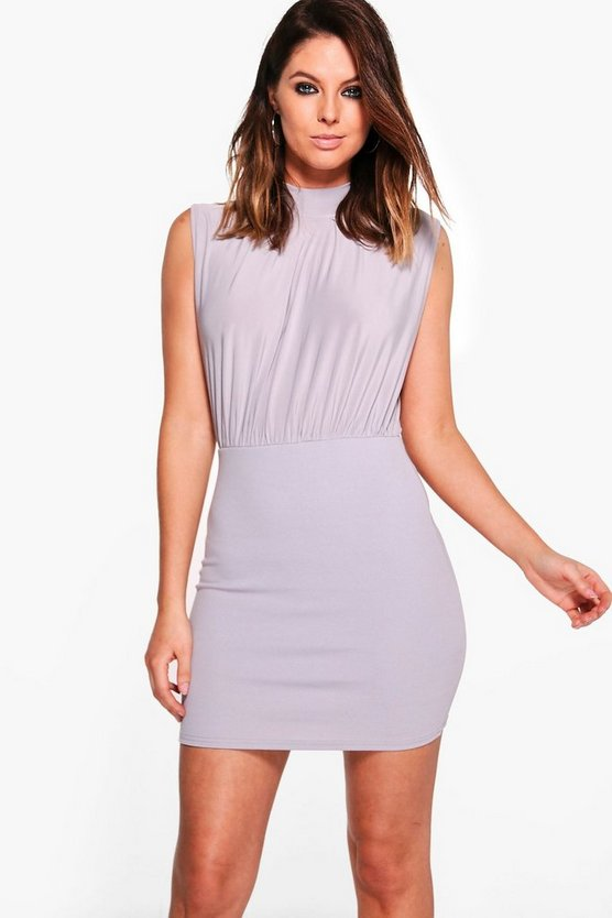Nuala High Neck Rouched Bodycon Dress