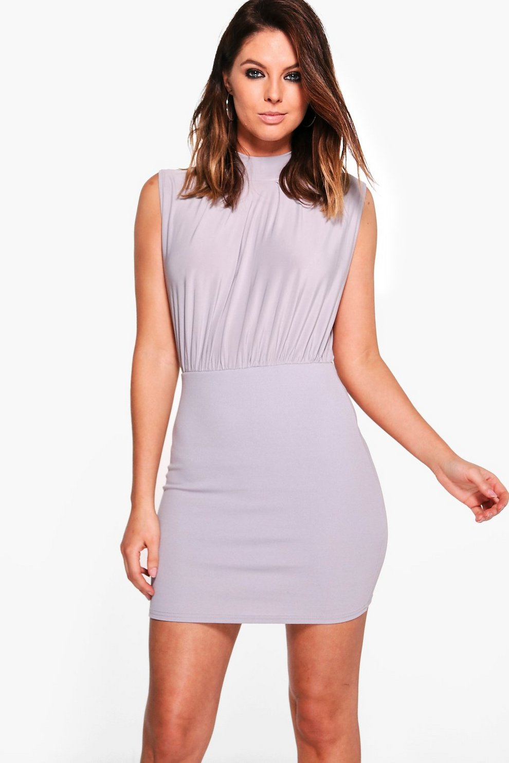 c50ddf67db Nuala High Neck Rouched Bodycon Dress