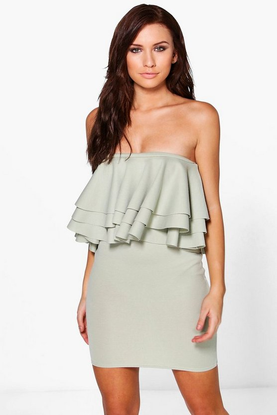 Pai Double Frill Off Shoulder Bodycon Dress