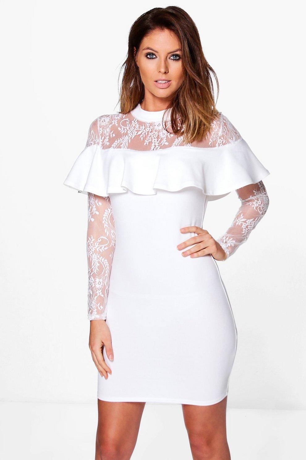75a003e45c8e Lia Lace Off Shoulder Frill Bodycon Dress | Boohoo