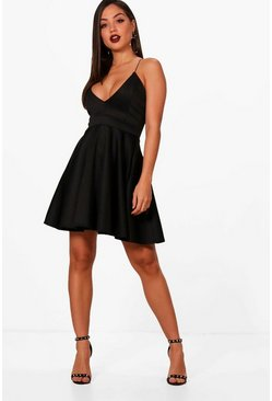 Womens Black Strappy Plunge Neck Skater Dress