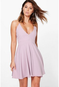 Womens Mauve Strappy Plunge Neck Skater Dress