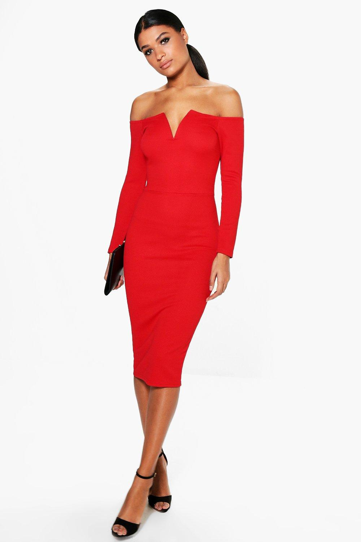 fe5949fd247 Womens Red Jody V Plunge Off Shoulder Midi Dress. Hover to zoom