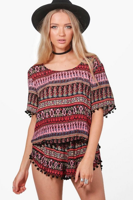 Cleo Woven Pom Pom Crop & Shorts Co-Ord