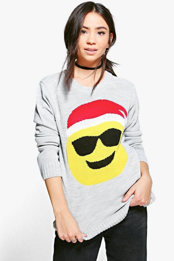 Katie Sunglasses Emoji Christmas Jumper