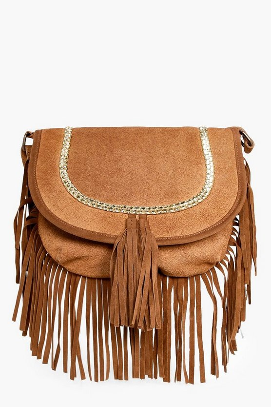 Holly Boutique Suede Plait Cross Body Bag